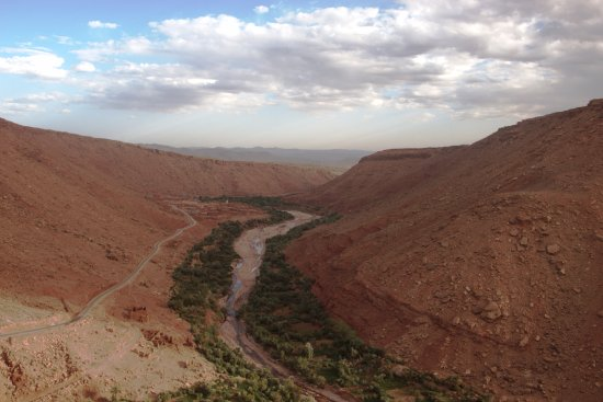 Ait Ben Haddou, Morocco: The wonderful green strip of the river canyon in Ounila Valley