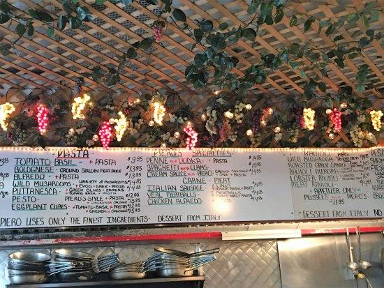 Piero's Pasta House: the menu board