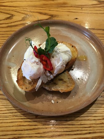 Wirksworth, UK: Brunch - Poached Eggs on Sourdough Toast
