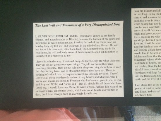 "Danville, CA: Last will written in the voice of the deceased Dog ""Blemie"""