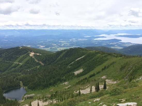 Sandpoint, ID: pond and Lake Pend Oreille as seen from the summit