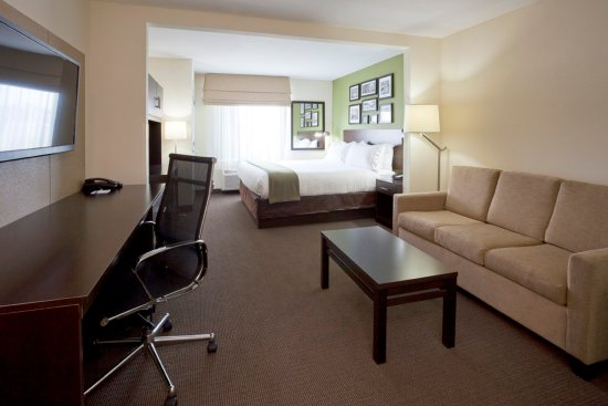 Rogers, MN: King suite with pullout sofa, fridge, microwave, and coffee maker.