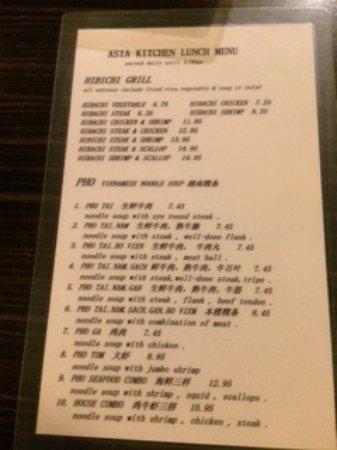 asia kitchen lunch menu - Asia Kitchen Menu