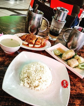 Peppermint the vietnamese restaurant: Chicken rice with spring rolls, iced coffee and iced lemon tea
