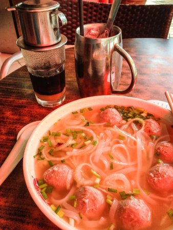 Peppermint the vietnamese restaurant: Beef meatball pho with iced coffee