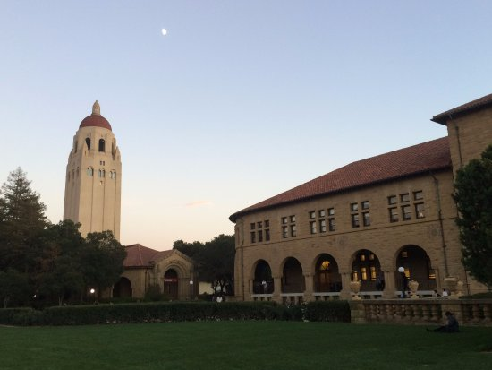 Palo Alto, CA: Moon over Hoover Tower