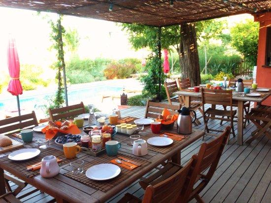 Ortaffa, فرنسا: Petit déjeuner Piscine