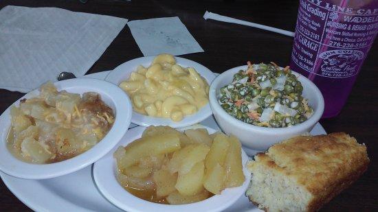 Galax, VA: pea salad/ pineapple/mac+cheese/spiced apples/cornbread