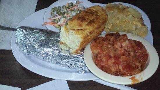 Galax, VA: tomato pudding/pea salad/pineapple/baked potato