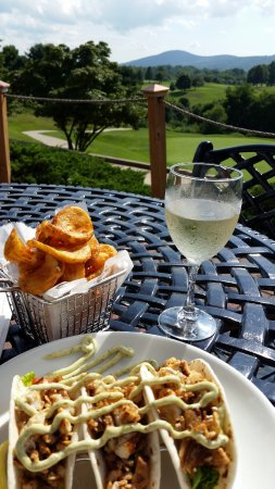 P.B. Dye Golf Club: Fish tacos, fries, and a nice glass of wine!