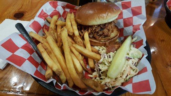 Woodstock, IL: pulled pork sandwich, fries, slaw