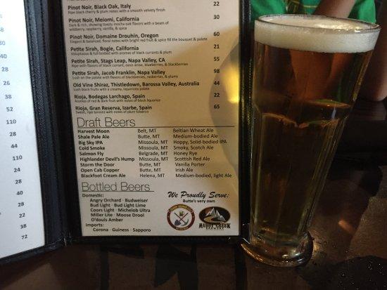 Butte, MT: Draft beer list