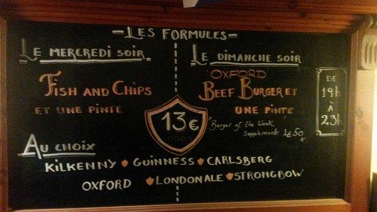 Oxford Arms : Les formules du mercredi et du dimanche avec un plat et une pinte au choix.
