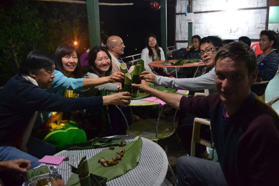 Bomdila, India: Guest having adi tribal dinner in Pasighat