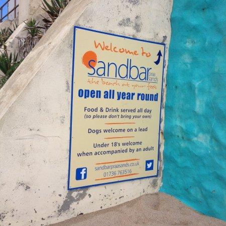 Praa Sands, UK: Sandbar sign