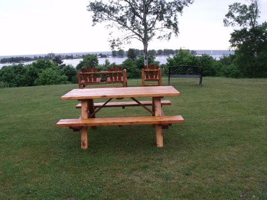 relax outside and enjoy the view of Lake Superior and the Grand Marais Harbor.