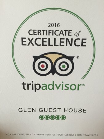 Glen Guest House: 4th year in a row.  Thanks to all my guests who made this possible.