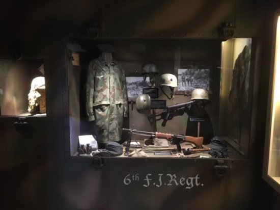 D-Day Experience (Dead Man's Corner museum): Cabinets with artefacts on 1st floor
