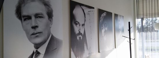 Laulasmaa, Estonie : Images of famous Estonian composers on cafeteria walls