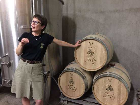 Saussignac, Frankrig: Caro Feely explains the barrel choices at Chateau Feely