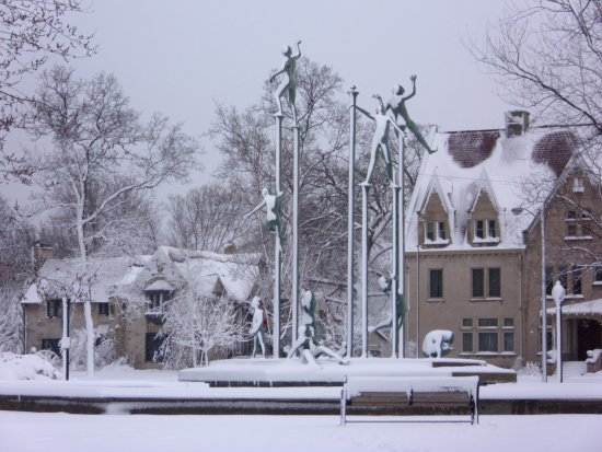 Neenah, WI: Sculpture At Entrance Last Winter
