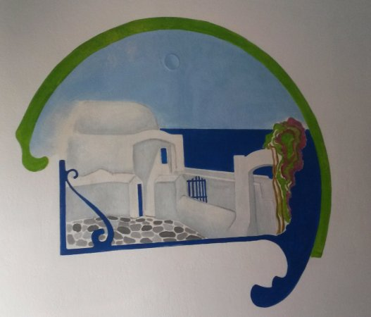 Ionia Hotel Skopelos: Bedroom wall art