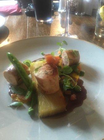 Repton, UK: Roast Chicken Breast with dauphinoise potato, summer peas, carrots etc.