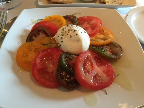 Chesterland, OH: Tomato and Burrata Salad with White Balsamic Vinaigrette