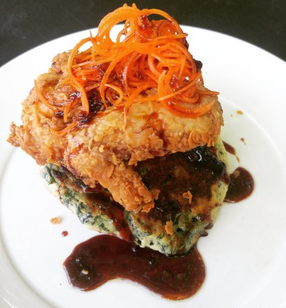 Bibo : Buttermilk Fried Chicken on spinich & green onion pancake with chengdu syrup