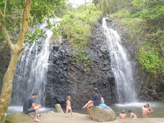 Adventure Eagle Tours with William Leeteg : This is a great double waterfall that William showed us. Locals love it.