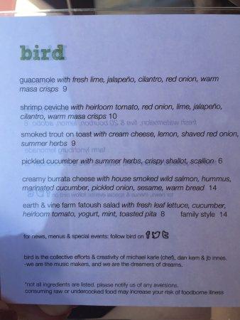 Westfield, estado de Nueva York: menu from bird, the outside food venue