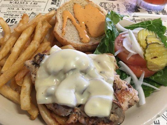 Harper, TX: Grilled Chicken Sandwich (very tender) and Chicken Fried Chicken