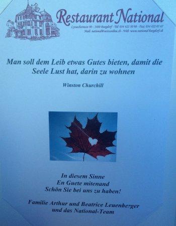 Burgdorf, Suiza: Churchill eröffnet die Speisekarte