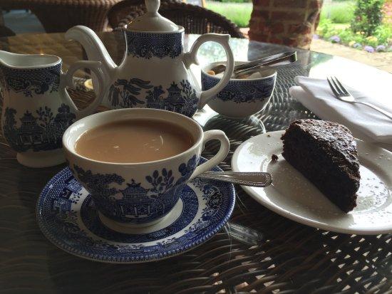 Goddards House and Garden: Yorkshire tea and chocolate vanilla torte on garden terrace. YUM!