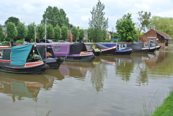 """marina and Aynho Wharf Shop, GWA right behind the tall trees above the """"Fanny Grace"""""""