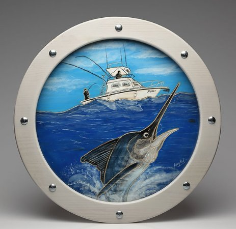 "Treasure Island, FL: ""Sport Fishing""/Hand carved and acrylic painting porthole."
