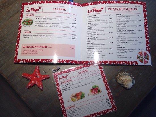 Lion-sur-mer, Франция: La carte du restaurant: pizzas, salades, grill, desserts faits maison...