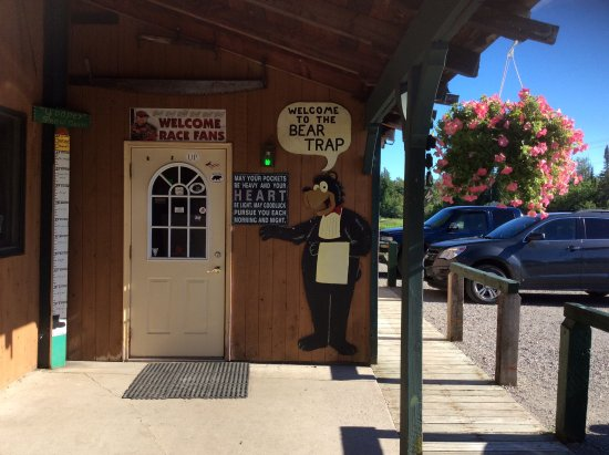 Bear Trap Inn: This is the front entrance, there are bears all over on the inside as well as antlers.