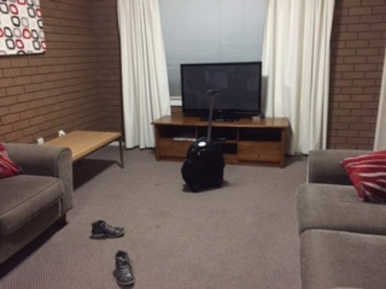 Wangaratta, Australia: the furniture layout does not work at all...should be arranged in an L shape