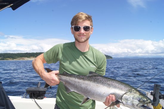 Campbell River, Canada: My son and his first and our biggest Pacific Salmon