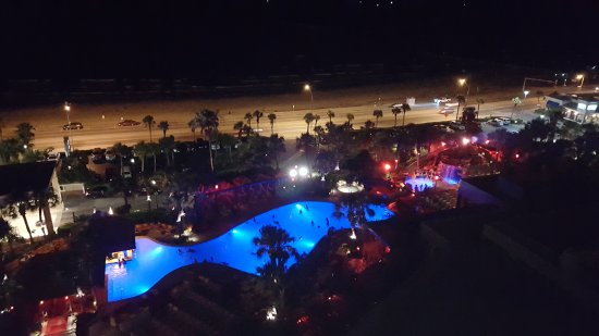 The San Luis Resort: View from our room at night.