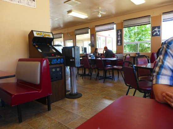 Fort Garland, CO: Dining Interior of Del's Features a PAC MAN Console--Charming