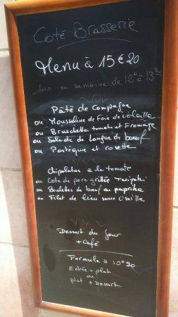 Hostellerie des Trois Pigeons : Menu brasserie et restaurant du 8 juillet 2016