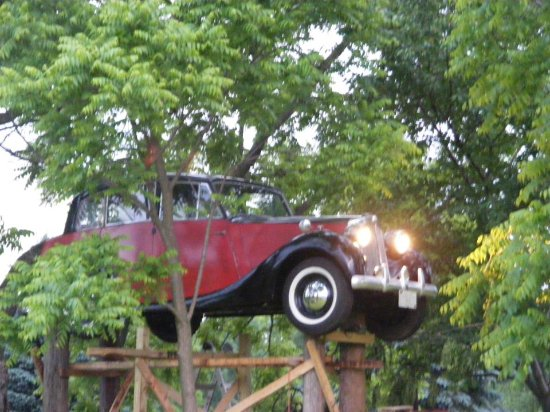 Geneseo, Nova York: A 1946 Triumph 1800 Saloon is in the trees!