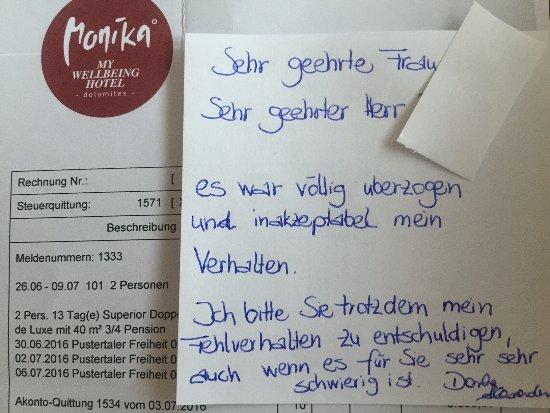 """Hotel Monika: """"Entschuldigung des Managements"""""""