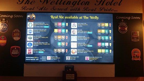 The Wellington Bed & Breakfast: Real Ale menu