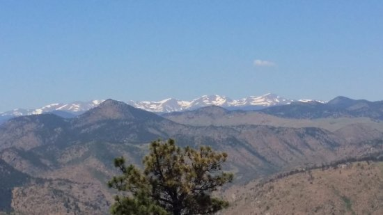 Denver Mountain Parks: The Rocky Mountains in the distance as viewed from Lookout Mountain.