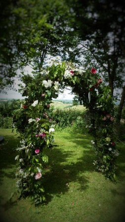 Morval, UK: Under the Rose arch looking out over the fields