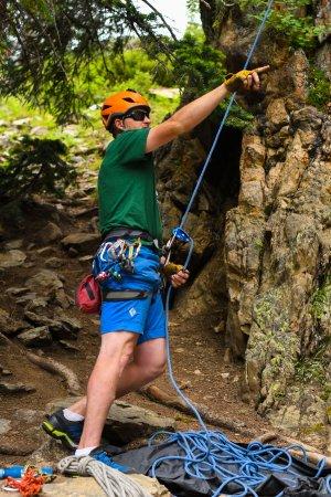 Aspen Alpine Guides: Jordan belaying.