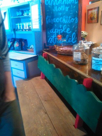 San Luis, CO: Lovely benches and chairs are locally made. Try strudel, specialty coffees at Cafe Rosa Mysticat